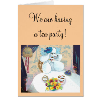 White Poodle Tea Party Greeting Card