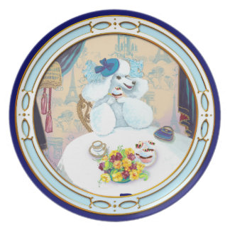 White Poodle Tea Party Cupcake Plate