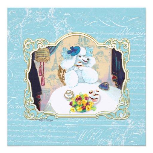 White Poodle Tea Party Custom Invitations