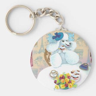 White Poodle Tea Party Basic Round Button Keychain