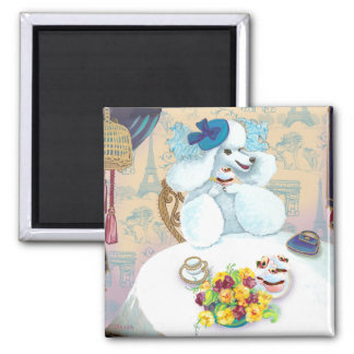 White Poodle Tea Party 2 Inch Square Magnet