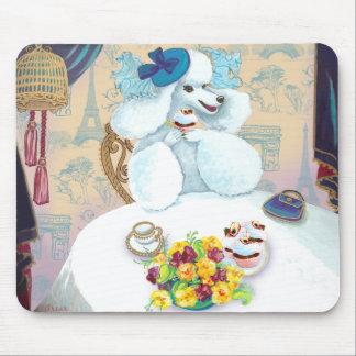 White Poodle Tea Party Mouse Pad