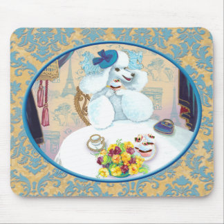 White Poodle Tea Party on Damask Mouse Pad