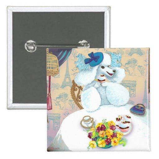 White Poodle Tea Party Pinback Button