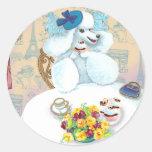 White Poodle Tea Party Round Sticker