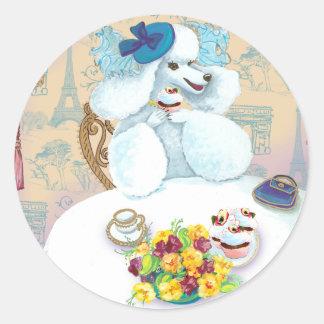 White Poodle Tea Party Classic Round Sticker