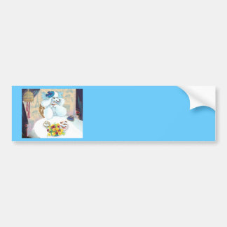 White Poodle Tea Party with Cupcakes Car Bumper Sticker