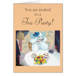 White Poodle Tea Party with Cupcakes Greeting Cards