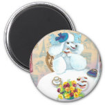 White Poodle Tea Party with Cupcakes Fridge Magnet