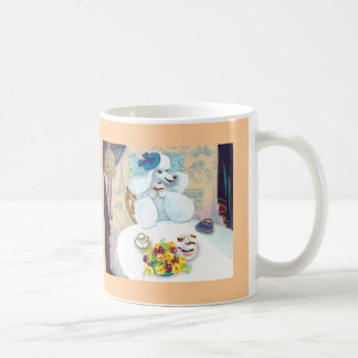 White Poodle Tea Party with Cupcakes Mugs