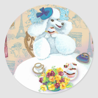 White Poodle Tea Party with Cupcakes Classic Round Sticker