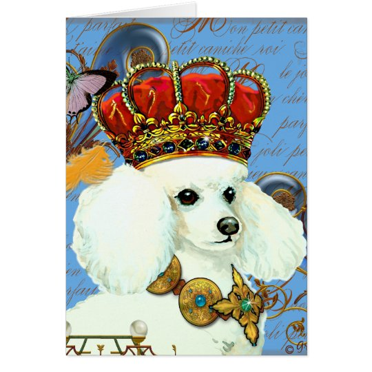 White Poodle Wearing Jeweled Crown Portrait Card