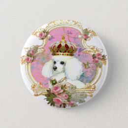 white poodle wi pink roses gold fr fini clr bkgrnd button