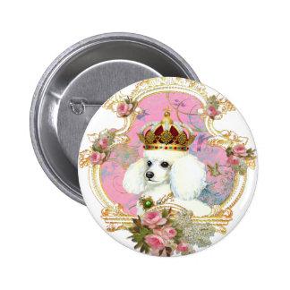 white poodle wi pink roses gold fr fini clr bkgrnd pinback button