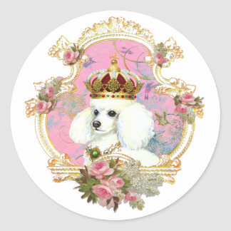 white poodle wi pink roses gold fr fini clr bkgrnd classic round sticker