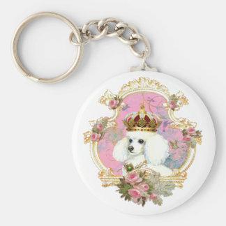 white poodle wi pink roses gold fr fini clr bkgrnd keychain
