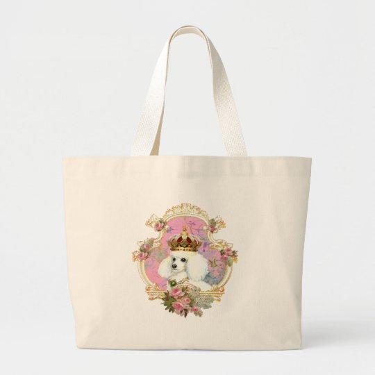 white poodle wi pink roses gold fr fini clr bkgrnd large tote bag