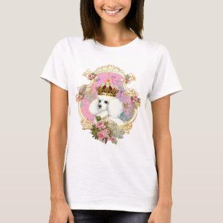 white poodle wi pink roses gold fr fini clr bkgrnd T-Shirt