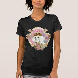 white poodle wi pink roses gold fr fini clr bkgrnd t-shirts
