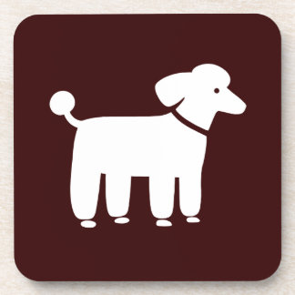 White Poodle with Custom Color Background Coaster