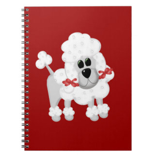 White Poodle With Red Spiral Notebook