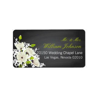 White Poppies and Chalkboard Wedding Label