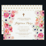"White Poppies and Pink Roses Baptism Invitation<br><div class=""desc"">This Baptism Invitation is framed with beautiful white poppies and pink roses and a small gold cross. The invitation is absolutely beautiful for your little blossom&#39;s baptism.</div>"