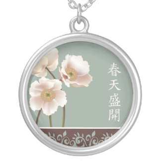 "White poppies blue ""Spring bloom"" Round Pendant Necklace"