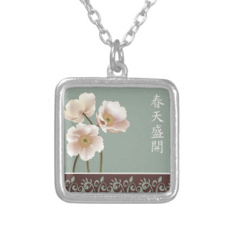 "White poppies blue ""Spring bloom"" Square Pendant Necklace"