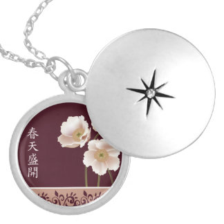 "White poppies burgundy ""Gift of life"" Round Locket Necklace"