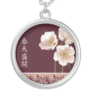"White poppies burgundy ""Gift of life"" Round Pendant Necklace"