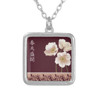 "White poppies burgundy ""Gift of life"" Square Pendant Necklace"