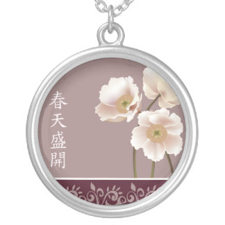 "White poppies pink ""Spring bloom"" Round Pendant Necklace"