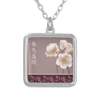"White poppies pink ""Spring bloom"" Square Pendant Necklace"