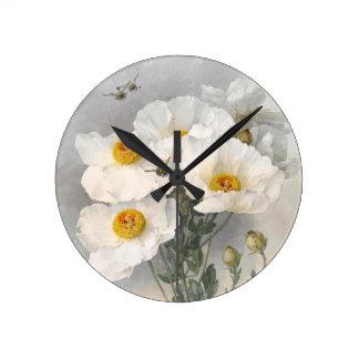 White Poppies Victorian Flowers Paul de Longpre Round Wallclock