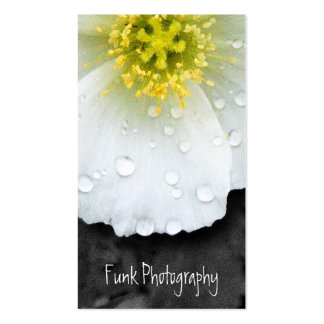 White Poppy After the Rain Business Card Templates