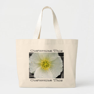 White Poppy After the Rain; Customizable Canvas Bags