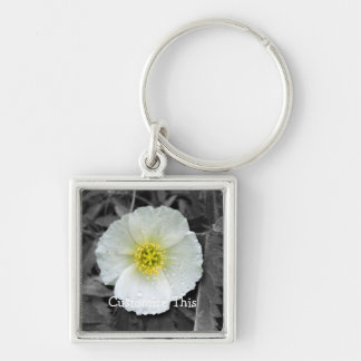 White Poppy After the Rain; Customizable Keychain