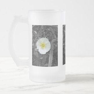 White Poppy After the Rain Frosted Glass Beer Mug