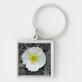 White Poppy After the Rain Keychain