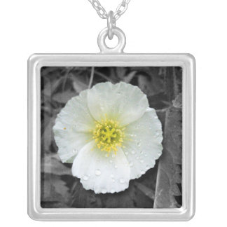 White Poppy After the Rain Silver Plated Necklace