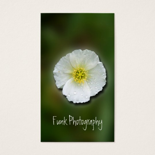 White Poppy Blurred Background Business Card