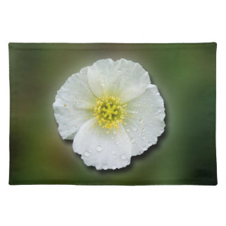 White Poppy Blurred Background Cloth Placemat