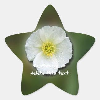White Poppy Blurred Background; Customizable Star Sticker