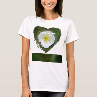 White Poppy Blurred Background; Customizable T-Shirt
