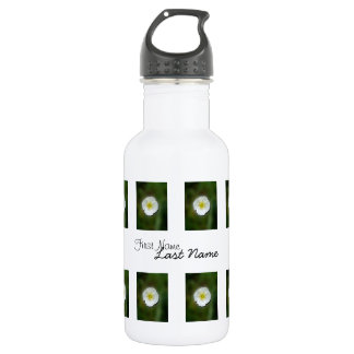 White Poppy Blurred Background; Customizable Water Bottle