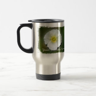 White Poppy Blurred Background; Promotional Coffee Mugs