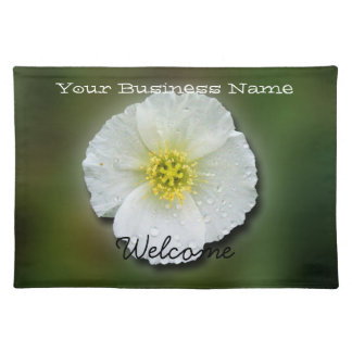 White Poppy Blurred Background; Promotional Placemat