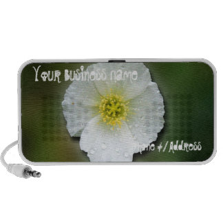 White Poppy Blurred Background; Promotional Travel Speaker