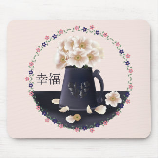 White poppy bouquet mouse pad
